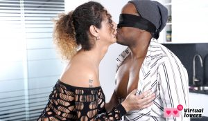 shemale Latina in interracial sex with black man